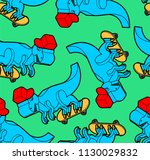 dinosaur on skateboard pattern... | Shutterstock .eps vector #1130029832