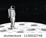 lonely astronaut in spacesuit... | Shutterstock .eps vector #1130032748