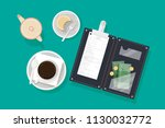 cup of coffee  piece of cake on ... | Shutterstock .eps vector #1130032772