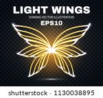 neon wings. fire and flame.... | Shutterstock .eps vector #1130038895