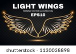 neon wings. fire and flame.... | Shutterstock .eps vector #1130038898