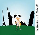 girl travels the world | Shutterstock . vector #113004322