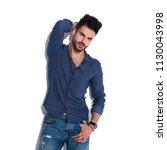 portrait sensual man wearing a...   Shutterstock . vector #1130043998