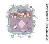 vector set with family sleeping ...   Shutterstock .eps vector #1130053685