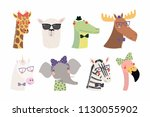 set of cute funny trendy... | Shutterstock .eps vector #1130055902