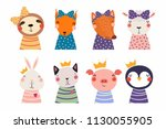 set of cute funny little... | Shutterstock .eps vector #1130055905