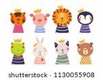 set of cute funny little... | Shutterstock .eps vector #1130055908