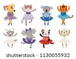 set of cute funny little... | Shutterstock .eps vector #1130055932