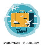 travelling suitcase surrounded... | Shutterstock .eps vector #1130063825