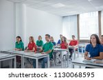 group of schoolboys and... | Shutterstock . vector #1130068595