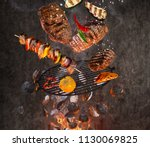 kettle grill with hot... | Shutterstock . vector #1130069825