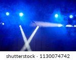 blue light  smoke  floodlight... | Shutterstock . vector #1130074742