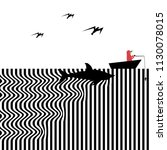 a shark approaches an...   Shutterstock . vector #1130078015