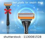 mens shaving razor ads. vector... | Shutterstock .eps vector #1130081528