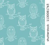 owls seamless pattern. white... | Shutterstock .eps vector #1130081765