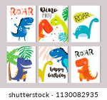invitation card for a dinosaur ... | Shutterstock .eps vector #1130082935