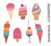 hand drawn pastel ice cream... | Shutterstock .eps vector #1130083058