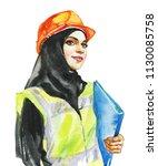 hand drawn arabian woman...   Shutterstock . vector #1130085758