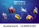 global online delivery process  ... | Shutterstock .eps vector #1130091455