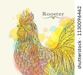 Hand Drawn Rooster In Doodle...