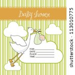 green baby shower card with... | Shutterstock .eps vector #113010775