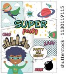 superhero party card with kids... | Shutterstock .eps vector #1130119115