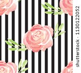 hand painted watercolor floral... | Shutterstock . vector #1130122052