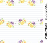 hand painted watercolor floral... | Shutterstock . vector #1130122058