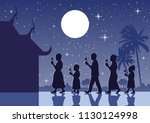 walk with lighted candles in...   Shutterstock .eps vector #1130124998