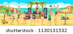 beach party. youth dances and... | Shutterstock .eps vector #1130131532