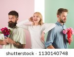 girl likes to be in middle... | Shutterstock . vector #1130140748