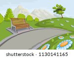 landscape with a mountains and... | Shutterstock .eps vector #1130141165