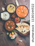 assorted indian food for lunch... | Shutterstock . vector #1130144522