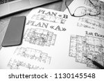 architectural blueprints  ... | Shutterstock . vector #1130145548