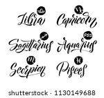 calligraphy zodiac signs set.... | Shutterstock .eps vector #1130149688