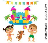 jumping kids and dog and bouncy ... | Shutterstock .eps vector #1130151395