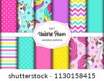cute set of childish seamless... | Shutterstock .eps vector #1130158415