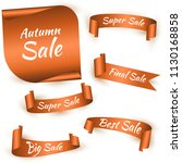 set of orange ribbon for autumn ... | Shutterstock .eps vector #1130168858