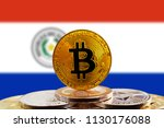 bitcoin btc on stack of... | Shutterstock . vector #1130176088