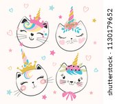 Stock vector cute cat unicorns doodle illustration for kids 1130179652