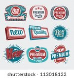 retro vintage labels and badges | Shutterstock .eps vector #113018122