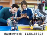 young students of robotics... | Shutterstock . vector #1130185925