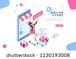 e shop  shopping concept with... | Shutterstock . vector #1130193008