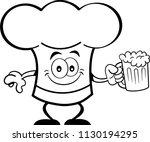 black and white illustration of ... | Shutterstock . vector #1130194295