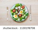 healthy vegan lunch plate.... | Shutterstock . vector #1130198708