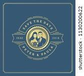 wedding invitation card design... | Shutterstock .eps vector #1130200622