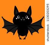 bat flying. cute cartoon baby... | Shutterstock .eps vector #1130203295