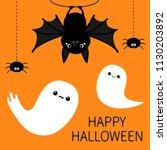 bat hanging. spider dash line... | Shutterstock .eps vector #1130203892