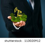 extraction of oil. pump jack on ... | Shutterstock . vector #113020912
