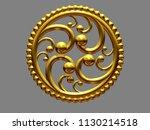 golden  circle emblem  3d... | Shutterstock . vector #1130214518